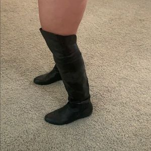 Chinese Laundry Shoes - Black faux leather over the knee flat boot.